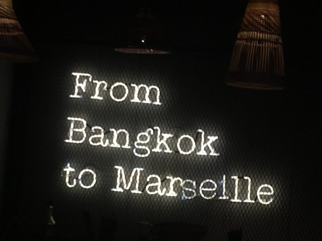 Neon letters 'From Bangkok to Marseille' in restaurant Pitaya in Marseille.