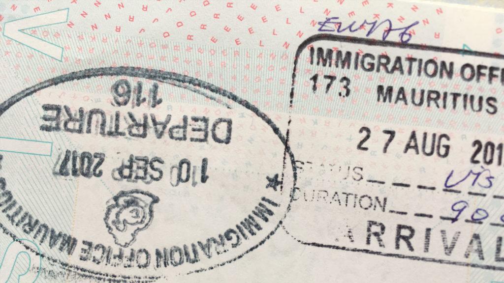 Immigratiestempel Mauritius paspoort