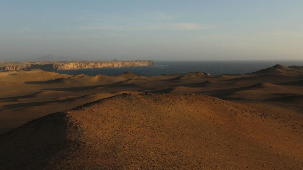 De kustlijn van het woestijn natuurreservaat van Paracas - Peru