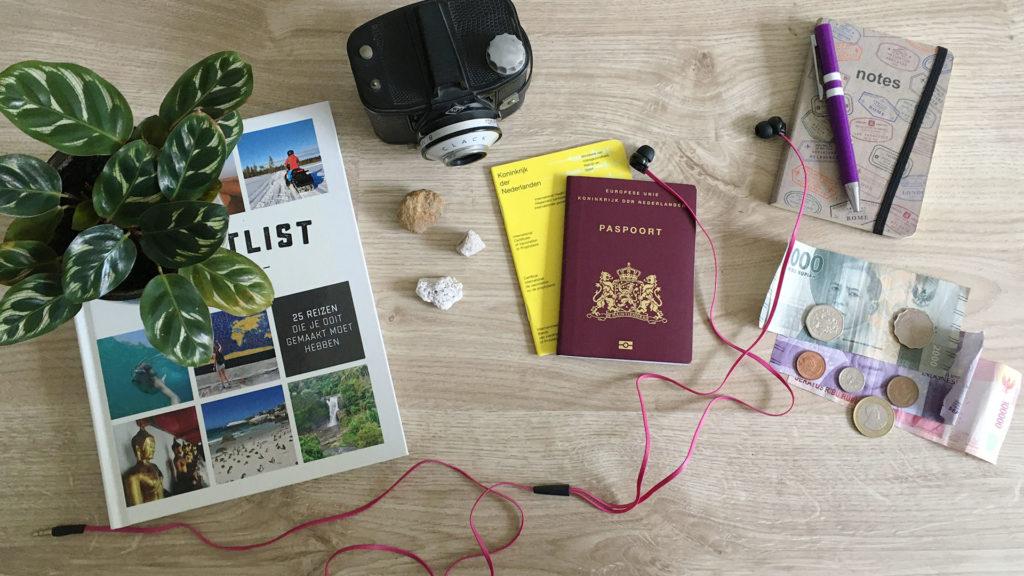 Paspoort, vaccinatieboekje, camera, buitenlands geld