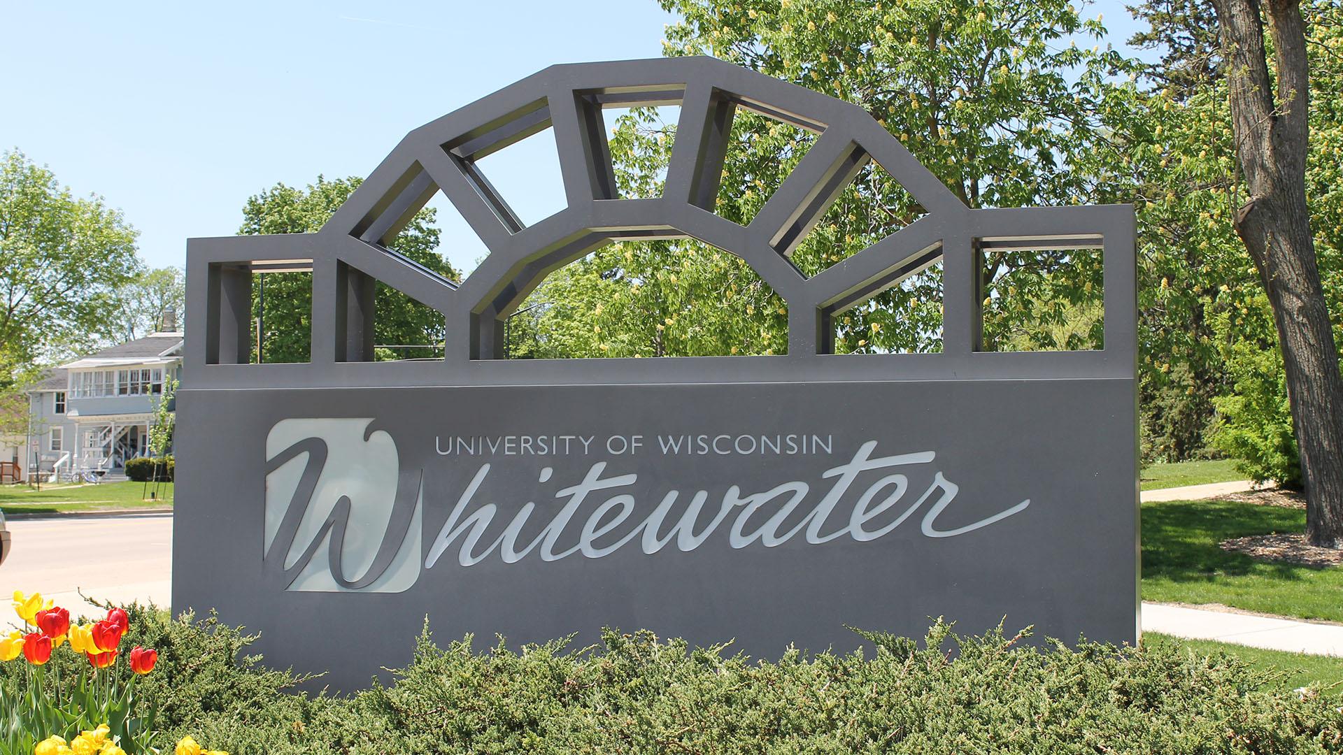 Welkomstbord van de Universiteit van Wisconsin Whitewater
